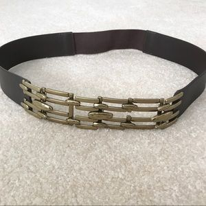 Chico's Brown Leather Metal Latch Belt